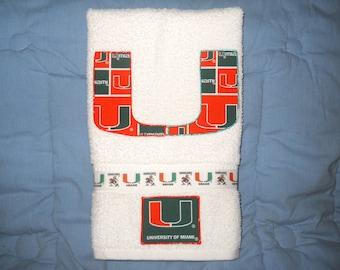 Miami Hurricanes The U Hand Towel Bathroom, Kitchen, Bar, Grill, Grad Gift