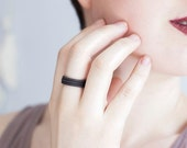 Stackable Rings - Triple Stack Stained Black Porcelain Rings
