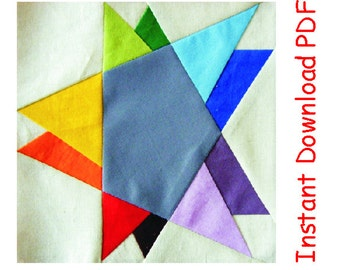 Wonky double star  paper pieced quilt block INSTANT DOWNLOAD PDF pattern