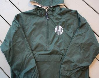 Monogrammed Half Zip Pullover Rain Jacket