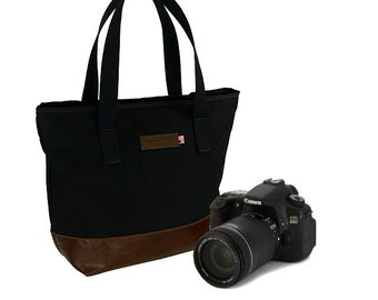 Tuscan Travel Camera Tote Bag in Classic Black and Italian Molasses