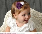 Kyla- Purple Frayed Chiffon Rosette and White Mini Satin Rosette Skinny Headband