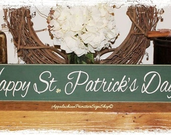 Happy St. Patricks Day- Spring Decor Sign -WOOD SIGN- Green Shamrocks Spring Home Decor Wall Hanging