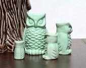SALE: Custom Vintage Ceramic Owl Family Figurine Set Home Decor Gift , Choose your color