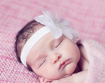 snow white shimmery flower on glitter elastic headband