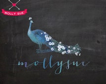 Premade Logo Design, Photography Logo, Custom Business Branding Logo Watermark, Peacock, Watercolor, Flower, Floral, Animal, Feather, French