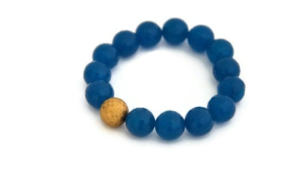 Teal blue stretch bracelet matte gold bohemian fashion
