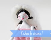 Contemporary Art Doll Brigitte the cinema star  - Handmade Paper Clay Doll - One Of A Kind