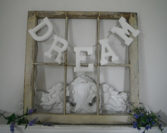 bedroom decor dream hanging sign wood letters dream garland sign dream white shabby chic wood painted letters  - MADE TO ORDER