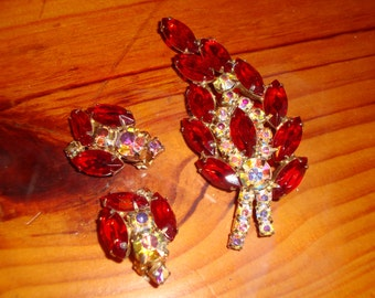 Bewitching, Breathtaking JULIANA RUBY Red & AB Clear Rhinestone Vintage Brooch and Earrings