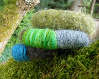 CLEARANCE SALE Felted bangles in brown and green