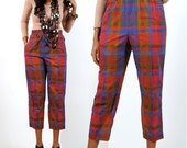 High Waisted Pants / Plaid Cigarette Pants / Womens Red Plaid Pants S / Small
