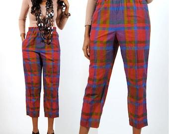 High Waisted Pants / Plaid Cigarette Pants / Womens Red Plaid Pants S / Small