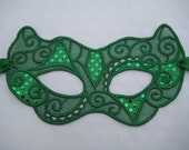 Green Sequin Lace Cat Mask - Halloween Mardi Gras Adult Costume Mask