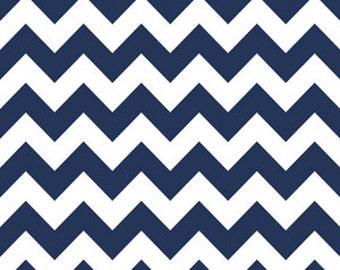 Riley Blake Designs - 2 Inch Chevron - Navy Blue - Cotton Fabric - 1 Yard