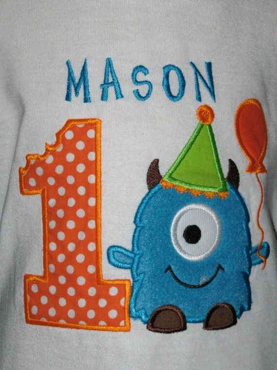 Blue and Orange Monster Birthday T Shirt with Free Personalization and Number Age with Balloons