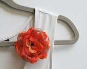 Silk Satin Brooch Pin with Burnt Carrot Orange Single Fabric Flower for Summer Weddings, Business Parties, or Office Suit Accessories