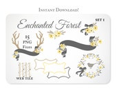Antlers, Flowers, Ribbons, Bows & Bird Clipart Design Elements - Instant Download