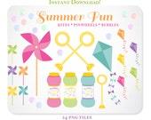 Summer Fun Pinwheel Kite & Bubbles Clipart - Design Elements, Blog Graphics- Instant Download