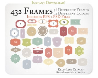 432 Digital Frames Clipart - Invitations, Labels, Digital Scrapbooking, Branding - Instant Download