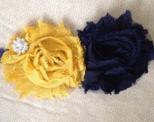 Navy and Mustard Chiffon Flower Lace Headband with Rhinestone Embellishment