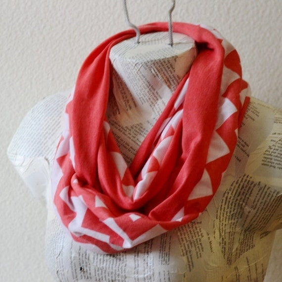 Coral and White Chevron Infinity Scarf from Jersey Knit--New Style--READY TO SHIP
