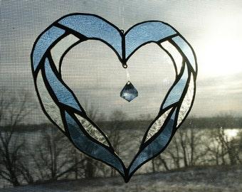 Light Blue Heart Suncatcher