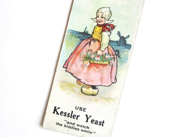 Victorian trade card, Dutch girl, Kessler Yeast advertising paper bookmark, tulips, Columbus, Ohio, Holland, Netherlands, pink, blue, spring