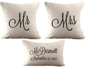 18x18 Mr & Mrs and a 12x18 Personalized  - Set of 3 Cushion/ Pillow Covers - Choose Your Text, Font Colour and Fabric