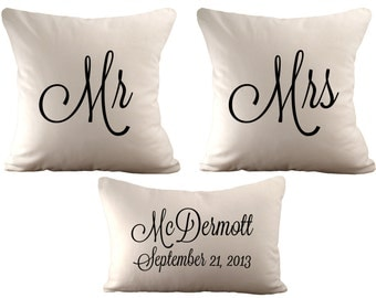 18x18 Mr & Mrs and a 12x18 Personalized  - Set of 3 Cushion Covers - Choose Your Text, Font Colour and Fabric