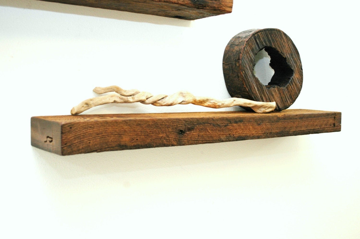 Reclaimed Wood And Metal Wall Shelves: Floating Reclaimed Wood Shelf