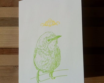 Letter Press Card - Green Bird