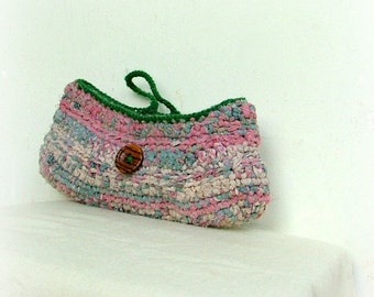 Upcycled  fabric crochet purse in green and pink with vintage wooden round button
