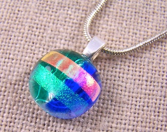 Small Glass Pendant - Cobalt Blue Aqua Green Peach Layered Dichroic Fused Glass - Round Rock Drop 16mm 5/8""