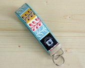 Key Fob, Key Chain, Wristlet, Vintage Charm in Turquoise, Yellow, and Red Stripe