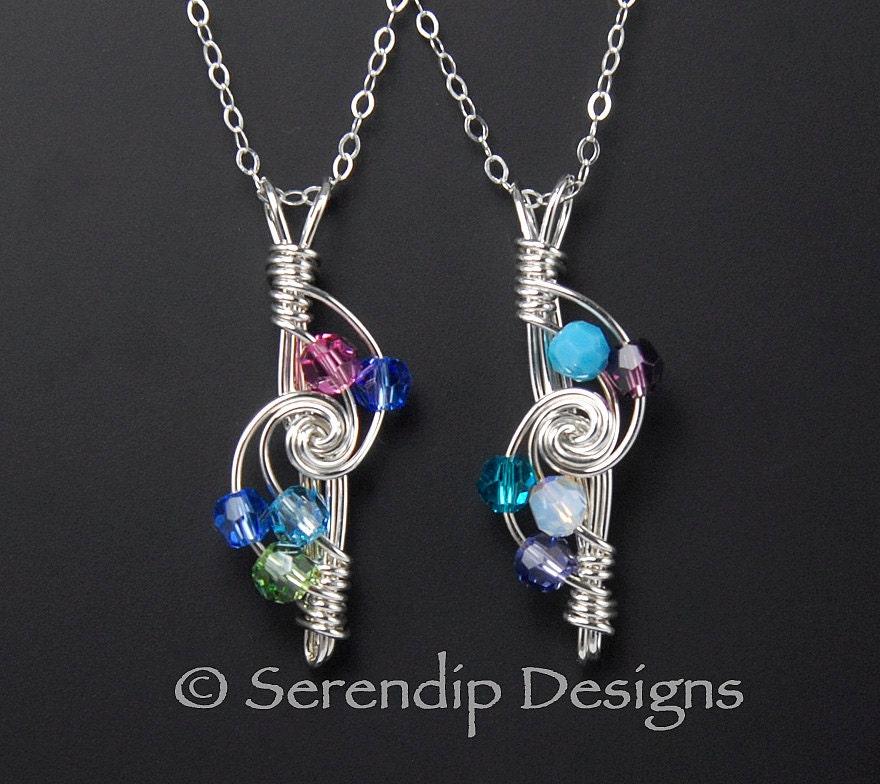 mothers necklace sterling silver five crystal birthstones. Black Bedroom Furniture Sets. Home Design Ideas