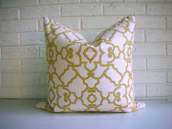Yellow Lattice Pillow Cover -  Cream and Yellow Moroccan Throw Pillow - Hollywood Regency Decor