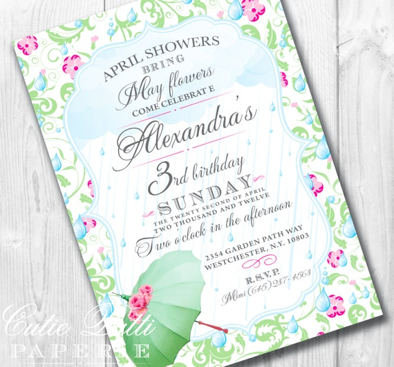 April Showers Party Invitations, Printable Custom Invitations by Cutie Putti Paperie