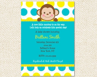 Mod Monkey Baby Shower Invitations