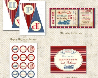 Train - DIY Printable Personalized Birthday Party Package Party Pack