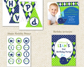 Whale - DIY Printable Personalized Birthday Party Package Party Pack