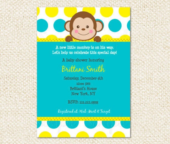 Monkey baby shower invites diabetesmangfo mod monkey baby shower invitations baby shower filmwisefo