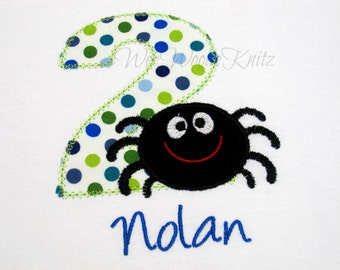 Boys Itsy-Bitsy Spider Birthday T shirt Bib Girls Applique Personalized 1st 2nd 3rd Boutique Style