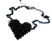 VALENTINE'S DAY Sale!! From 75.00 to 49.99  - Swarovski Crystal Heart All In Black Necklace with Matching Black Chain, Handmade in NYC