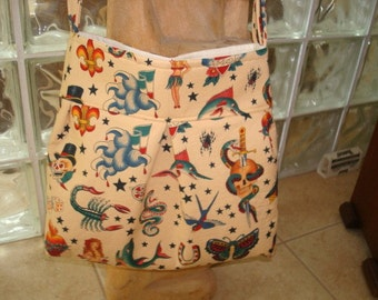 Hobo shoulder bag, fabric design by Alexander Henry, Tattoo bag