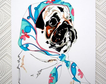 Pug In Pucci - 8 x 11 inch Giclee Print - Pug Illustration - Pug In Pucci Head Scarf - Pug Portrait