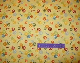 Robert Kaufman Robot Factory Wrenches Sprockets Cotton Fabric By The Half Yard