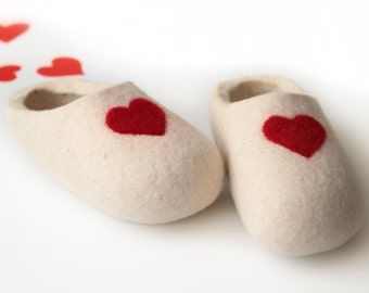 Felted Wool Slippers in Natural White with Red Hearst decor.