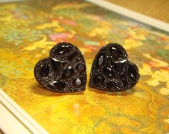 SALE - Shiny Resin Black Heart Post/Stud Earrings (E241)