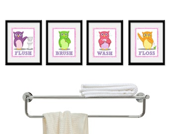 Kids Bathroom Art - Children's Girls Wall Decor Owls for the Bathroom - Kids Bathroom Decor art - Four 5 x 7  Bathroom Owl Child Prints